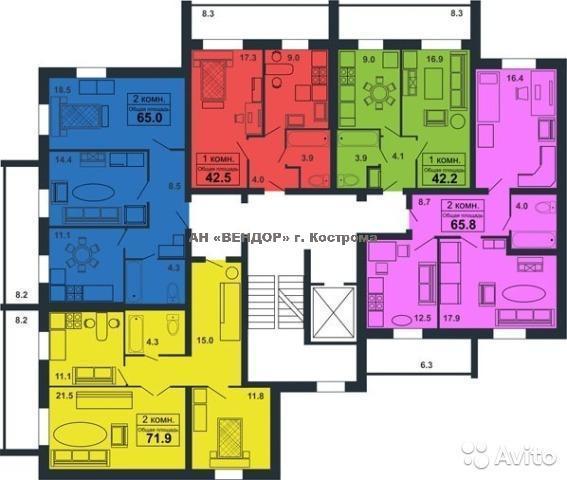 <div>Квартира 1-комн., 42м<sup>2</sup></div><div><b>Советская ул, 103г</b></div><div>2 250 000 руб.</div>